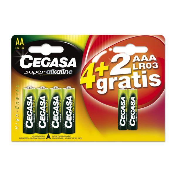 PILA CEGASA SUPER ALKALINA LR06 4+2 Gratis (4 LR6+2 LR03)